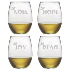 Joy Peace Noel Hope Stemless Wine Glass (Set of 4)
