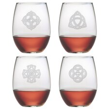 Celtic Knots Stemless Wine Glass (Set of 4)