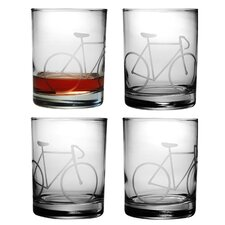 Bicycle 14 Oz. Rocks Glass (Set of 4)