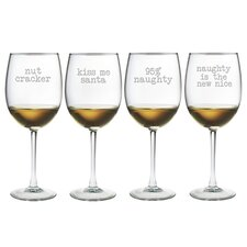 4 Piece Naughty Christmas Wine Glass Set