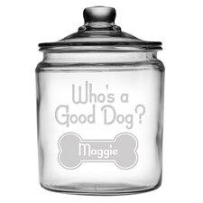64-Ounce Personalized Who's a Good Dog Pet Treat Jar with Lid