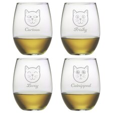 4 Piece Feline Faces Stemless Wine Glass
