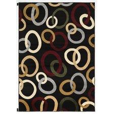 Metro Black Multi Rings Rug