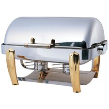 Odin Oblong Roll Top Chafing Dish with Brass Plated Legs and Spoon Holder