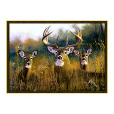 Wildlife Buck Stops Here Brown Novelty Oudoor Area Rug