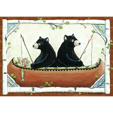 Wildlife Bears in Canoe Novelty Oudoor Area Rug