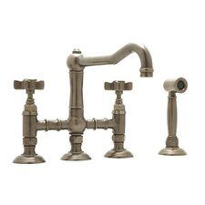 Country Kitchen Two Handle Widespread Bridge Faucet with Cross Handles Side Spray