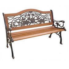 Trio Hummingbird Wood and Cast Iron Park Bench