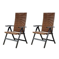 Hand Woven Polyethylene Wicker Outdoor Reclining Chair (Set of 2)
