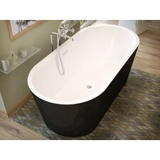 "Little Key 63"" x 32"" Freestanding One Piece Soaking Bathtub with Center Drain"