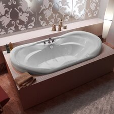 "Antigua 70"" x 41"" Oval Air Jetted Bathtub with Waterfall Filler and Center Drain"