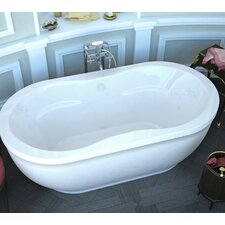 "Vivara 71"" x 34"" Oval Freestanding Soaker Bathtub with Center Drain"