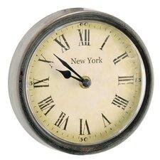 """6.3"""" Wood / Glass New York Round Clock (Set of 2)"""