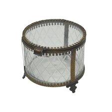 "Fall 4.3"" Iron and Glass Round Jewelry Box"