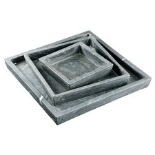 Fall 3 Piece Square Marble Plate Set