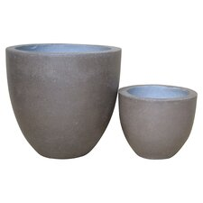 2 Piece Round Pot Planter Set