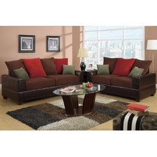 Bobkona 2 Piece Versatile Contemporary Tones Sofa Set