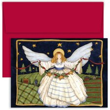 Masterpiece Studios Angel with Star Garland Boxed Holiday Card