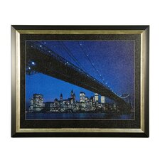 Manhattan Skyline and Brooklyn Bridge Framed Photographic Print