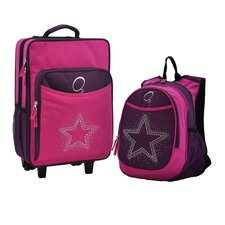 2 Piece Bling Rhinestone Star Kids Luggage and Backpack Set