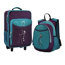 2 Piece Turquoise Butterfly Kids Luggage and Backpack Set