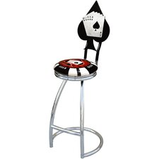 "Poker Chip 30"" Swivel Bar Stool with Cushion"