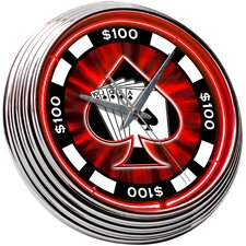 "Poker Chip 14.75"" Neon Wall Clock"
