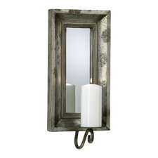 Wood Glass Mirror Sconce