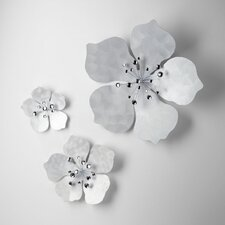 Large Violet  Wall Flower in Oyster Silver