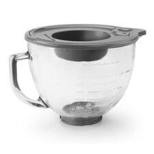 5 Qt. Glass Bowl with Measurement Markings, Pour Spout & Lid