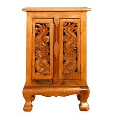 "Handmade 24"" Oriental Dragons Storage Cabinet / Nightstand - Natural Finish"