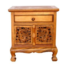 "Handmade 22"" Oriental Dragons Acacia Storage Cabinet / Nightstand - Natural Finish"