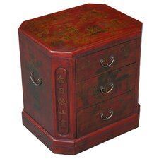 Handmade Oriental Antique Style Bonded Leather End Table