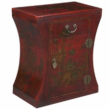 Handmade Oriental Antique Style Red Bonded Leather Hourglass End Table