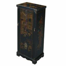 Handmade Oriental Antique Style Black Bonded Leather Jewelry Armoire / Accent Cabinet