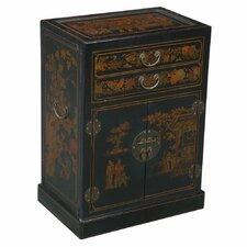 Handmade Oriental Antique Style Black Bonded Leather Wine Cabinet / Bar