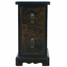 Handmade Oriental Antique Style Black Bonded Leather End Table/ Nightstand
