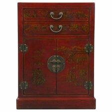 Handmade Oriental Antique Style Red Bonded Leather Wine Cabinet / Bar