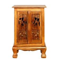 "Handmade 24"" Royal Elephants Storage Cabinet / Nightstand - Natural Finish"