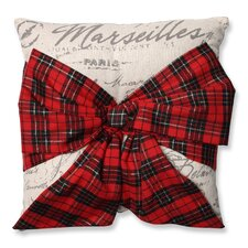 Holiday Plaid Bowknot Throw Pillow