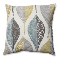 Woodblock Leaf Rain Cotton Throw Pillow