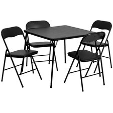 "5 Piece 33.5"" Square Folding Table and Chair Set"