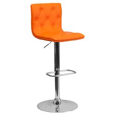 Contemporary Tufted Vinyl Adjustable Height Swivel Bar Stool with Cushion