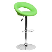Contemporary Adjustable Height Swivel Vinyl Bar Stool with Cushion