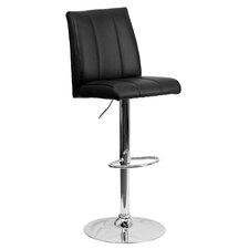 Contemporary Adjustable Height Swivel Square Bar Stool with Cushion