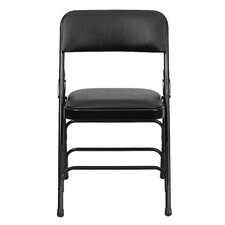 Hercules Series Personalized Vinyl Upholstered Metal Folding Chair