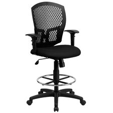 Mid Back Designer Back Drafting Stool with Padded Seat and Arms