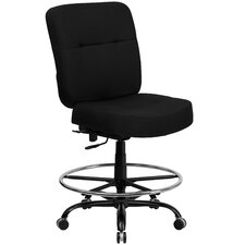 Height Adjustable Hercules Series Big and Tall Leather Drafting Stool with Extra Wide Seat