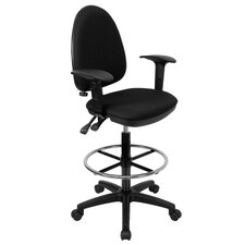 Height Adjustable Drafting Stool with Lumbar Support