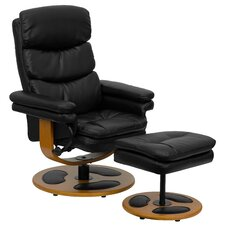 Contemporary Leather Club Recliner and Ottoman